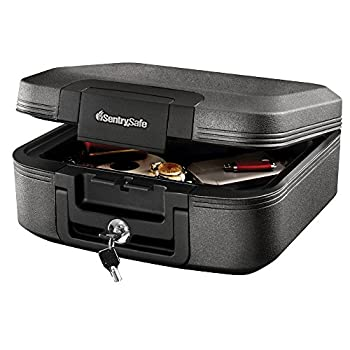 SentrySafe CHW20221 Fireproof Box and Waterproof Box with Key Lock 0.28 Cubic Feet Charcoal Gray