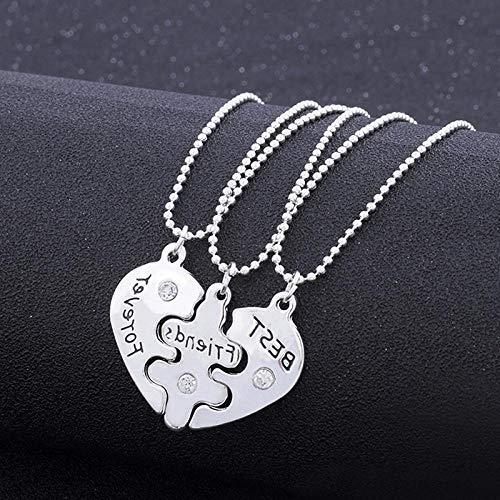 Collar 3 UnidsBFF Collar Llamativo Mejores Amigos para Siempre Collares De Color Plata Collar Amistad Corazón Encanto Colgante Joyería De Regalo