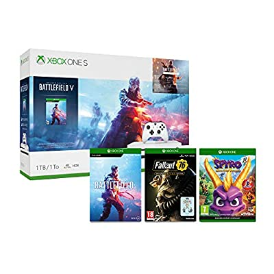 Xbox One S 1TB Battlefield V console + Spyro Trilogy Reignited + Fallout 76: S.*.*.C.*.*.L. Edition (Game + 3 Pin Badges) (Xbox One)