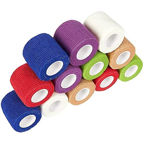 Juvale Cinta autoadhesiva para vendaje en 6 colores (2 pulgadas x 5.58 pies, 12 unidades)