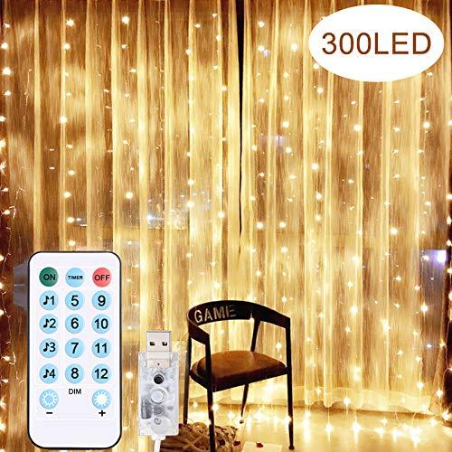 Diyife Luces de Cortina LED, [VersióN Nueva] 300 LED USB Luces de Hada 3x3m 8 Luz Modos 4 Modos de Control por la...