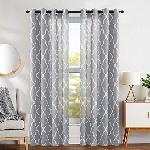 """jinchan Curtains Grey Linen Living Room Drapes Light Filtering Moroccan Tile Print Window Treatment for Bedroom Curtain Flax Textured Geometry Lattice Grommet Dining Room 50"""" W x 84"""" L 2 Panels"""