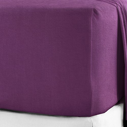 100% Brushed Cotton Flannelette 40CM/16' Extra Deep Fitted Sheets in 12 Colours (Double, Purple)