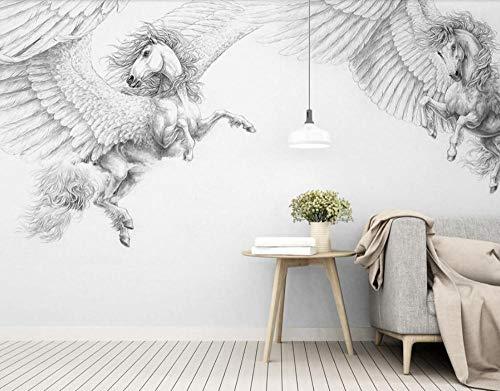 Fototapetenwandbild Nordische moderne handgemalte schwarze und weiße Pegasus-Hintergrundtapeten-Inneneinrichtung@140 cm x 100 cm