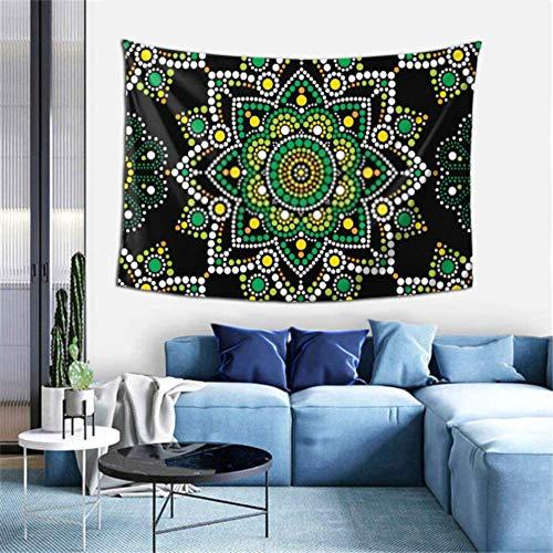 LINPM Aboriginal Dot Painting Nahtloses Muster Böhmischer Wandteppich Wandbehänge Wandteppiche 3D-Druck Decke Wandkunst für Wohnzimmer Schlafzimmer Wohnkultur