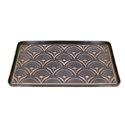 ART & ARTIFACT Floral Fans Boot Tray - Heavy Duty Large Rubber Floor Protector Shoe Tray - 32  x 16