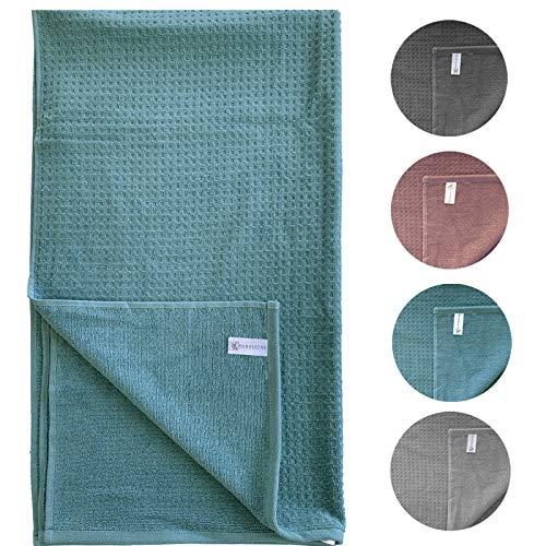 HOMELEVEL badstof douchehanddoeken en handdoeken 100% katoen piquee look Handdoek Aqua 100 cm x 50 cm