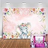 Mehofoto Elefante Telón de Fondo 7x5ft Lindo del cumpleaños del Elefante Photo Booth telones de Fondo para Fotografía de la Ducha del Elefante Rosado de la Flor del bebé del Fondo