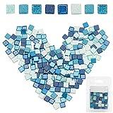 GORGECRAFT 220 piezas mosaico mosaico mosaico de colores mezclados mosaico forma cuadrada piedra de vidrio manchado para proyectos de manualidades de bricolaje decoración hecha a mano