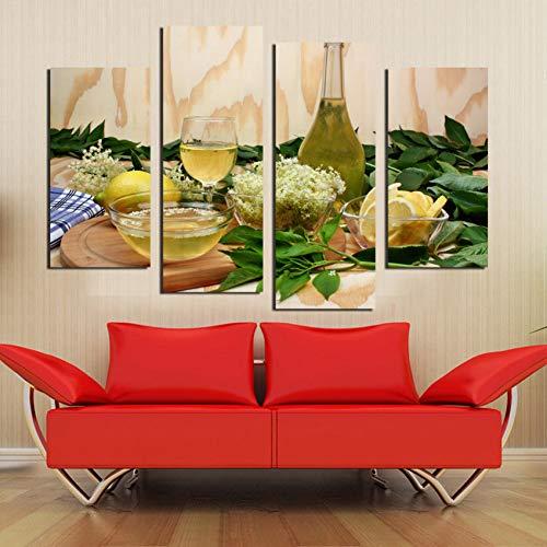 WLEZY canvas schilderij modulaire afbeeldingen fruit citroen sap groene bloemen 4 stuks canvas schilderij moderne wandafbeeldingen voor keuken muurschildering (frame)