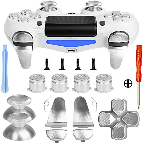 Metal Buttons for PS4 Controller Gen 2, Metal Aluminum Bullet Buttons & L1 R1 L2 R2 Triggers & D-pad & Thumbsticks Replacement Kit for PS4 Slim/PS4 Pro DualShock 4 Controller (Metal Silver)