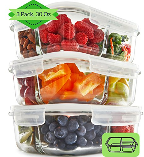 FIT 3 Compartment Glass Meal Prep Containers (3, 950ML) - Food Storage...