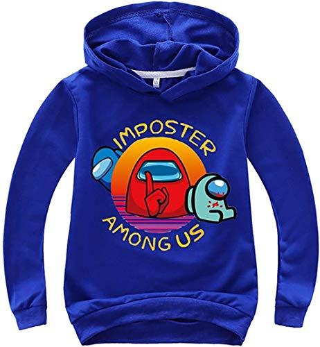XXHDEE Sudaderas con capucha para niños de color sólido con estampado de Game Among Us para adolescentes (color: 17, tamaño: 160)