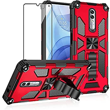 Asuwish Compatible with Coolpad Legacy Brisa Case and Tempered Glass Screen Protector Cover Cell Accessories Stand Kickstand Rugged Phone Cases for Cool Pad CP3706AS 2020 2021 Women Men Red