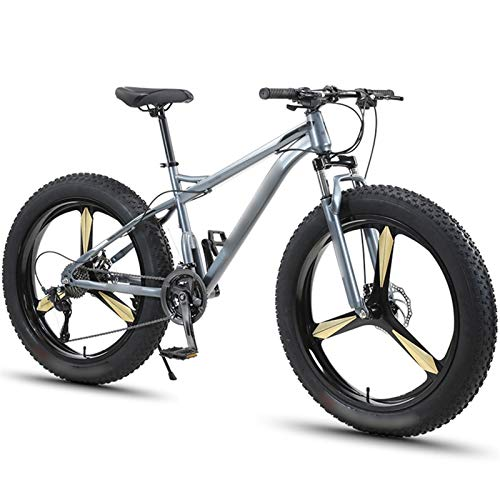 WPW Mountain Bike da 26', Bicicletta da Uomo con Pneumatici Super Larghi a 30 velocità 4.0, Telaio in Alluminio Leggero con Sospensioni Anteriori a Doppio Disco (Color : Grigio, Taglia : 7-Speed)