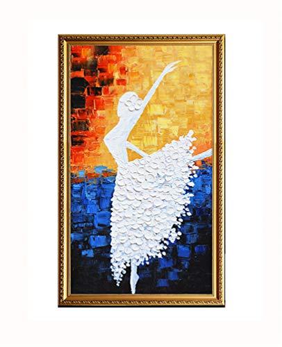 ZSLMX Hand Schilderen Dikke Textuur Olie Schilderen Met Abstract Art Ballerina Meisje Moderne 3D Olie Schilderen 100% Handbeschilderde Muur Art Decoratie - Kleurrijke Palet Mes Op Doek