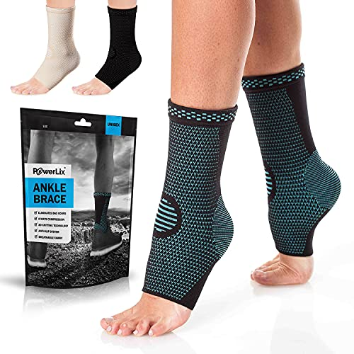 PowerLix Ankle Brace Compression Support Sleeve (Pair) for Injury Recovery, Joint Pain and More....