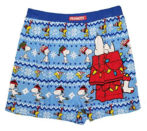 Christmas Peanuts Snoopy & Woodstock Boxershorts - Blau - Small