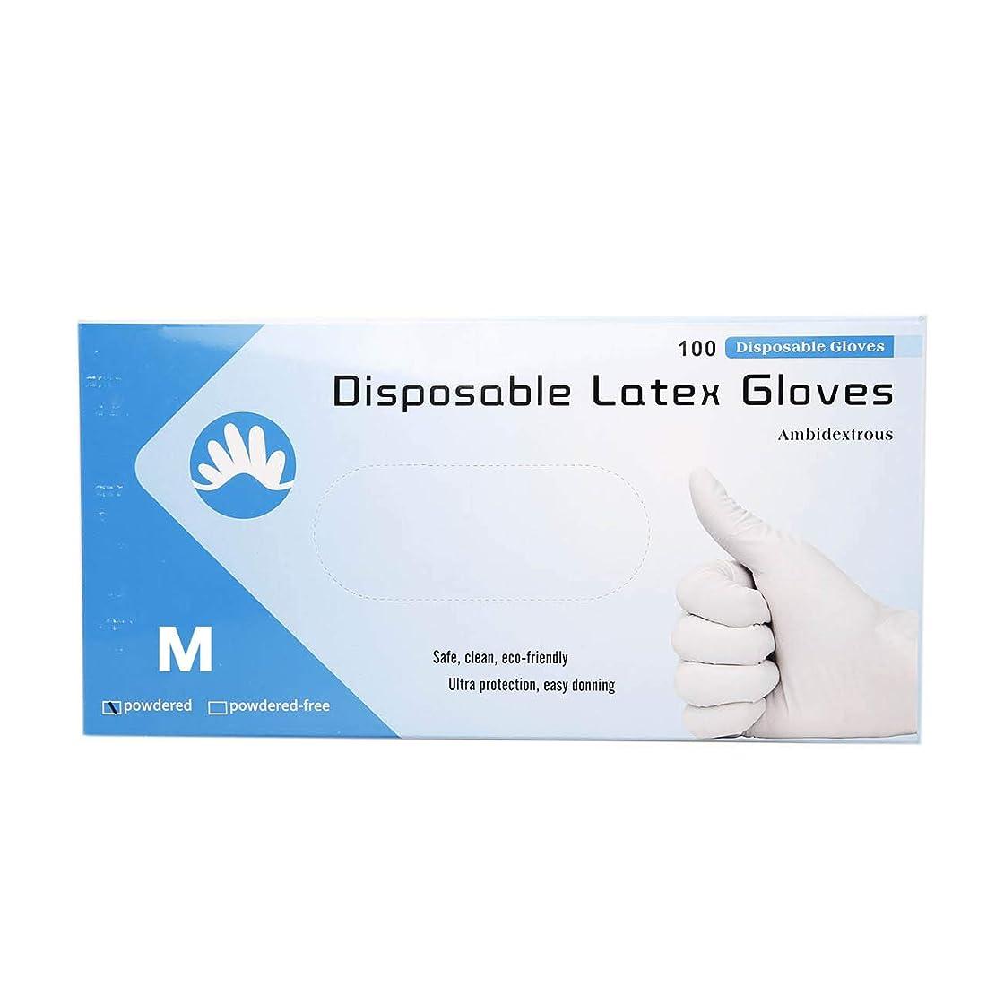 交じる想定検出Wishdeal 100個/箱 使い捨てラテックス手袋 ゴム手袋 試験用 歯科チェックアップ 白手袋 M