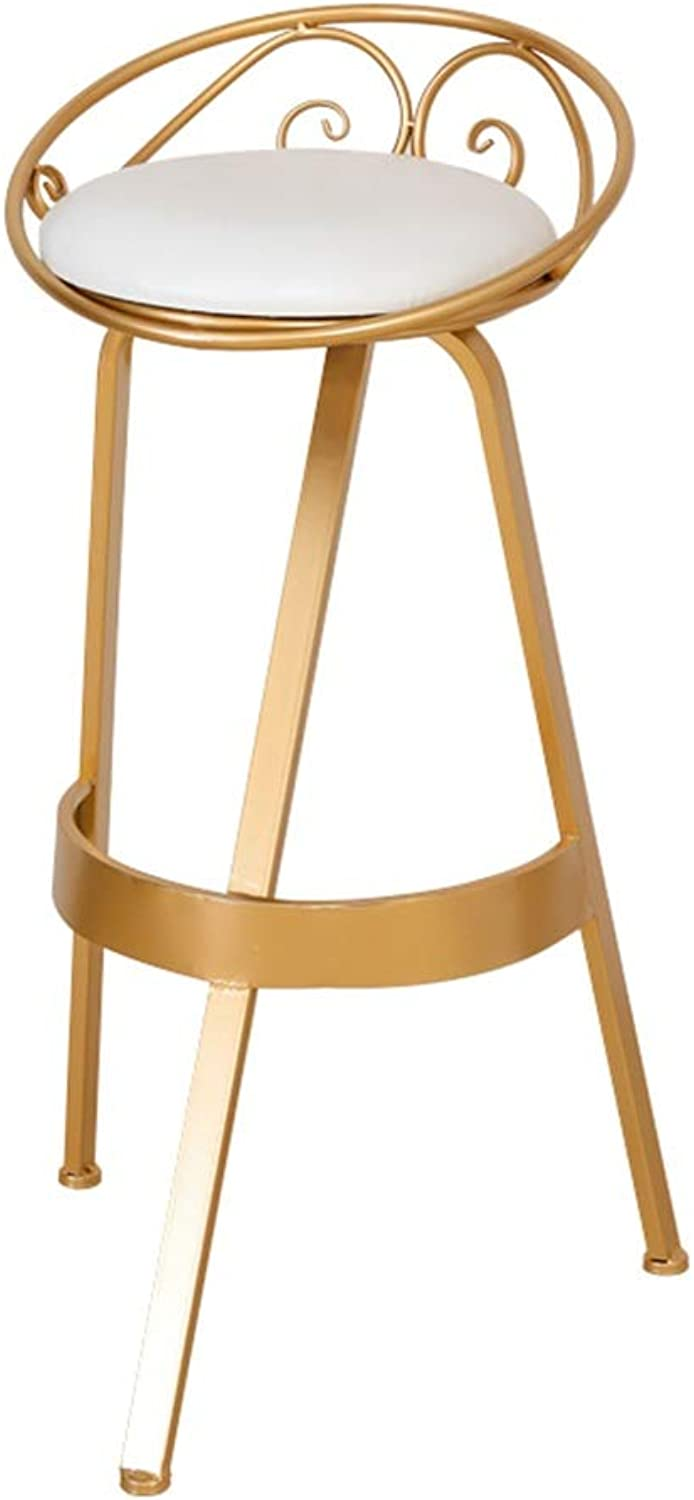Home Bar Stool, Metal Sponge High Stool The Company Rest Area Water Bar Bar Chair Kitchen Dining Table Chair Height 75CM (color   gold)