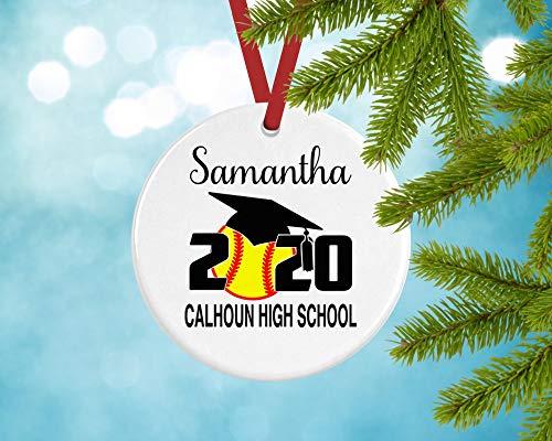 Dozili Softball Senior Kerst Ornamenten 2020 Gepersonaliseerd, Senior Night Gift, Team Gifts, Speler, Keramisch, Metaal