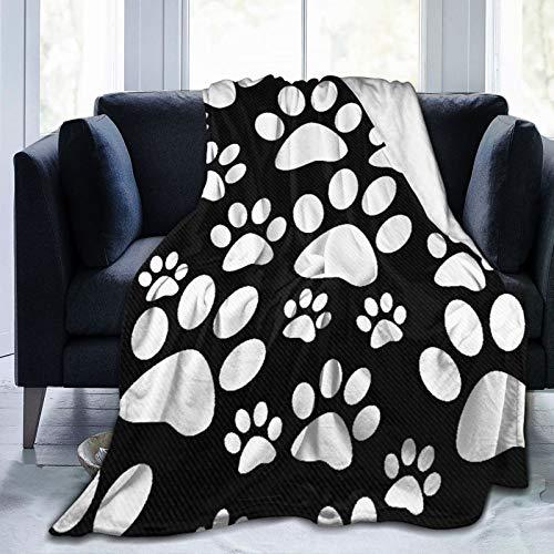 YOLIKA Manta de Tiro Ligero Ultra Suave,Azulejo de Huellas de Pata de Perro Blanco y Negro,Sala de Estar/Dormitorio/Sofá Cama Edredón de Franela 4 Estaciones,40' x 50'