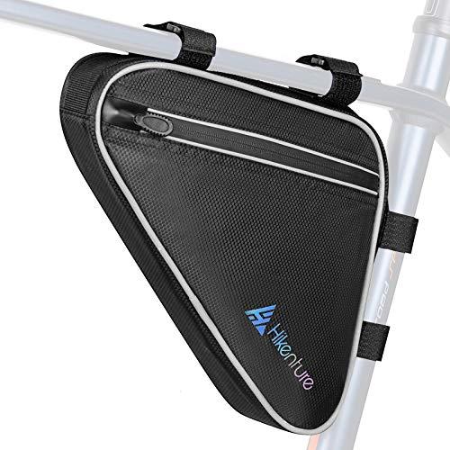 HIKENTURE Fahrradtasche Rahmen Dreieck - Wasserdicht Rahmentasche, Triangeltasche Werkzeugtasche Stange für Fahrrad Zubehör wie Fahrradschloss, Pumpe - MTB Radtasche Triangle mit 1,5L-Schwarz&Silver