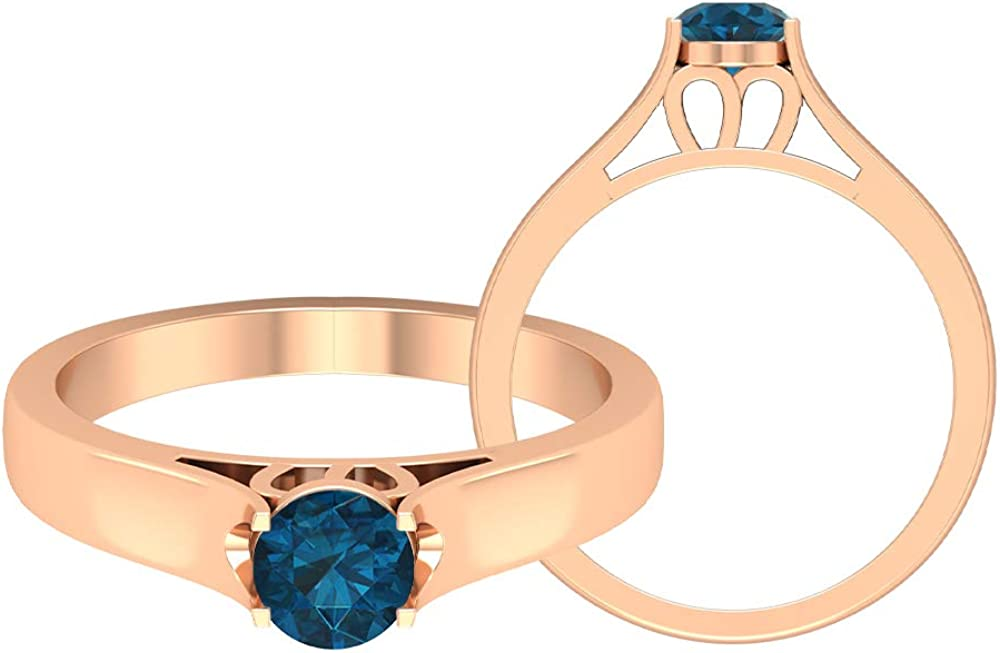 Dainty Ring, 1/2 CT Blue Topaz London Ring, Statement Solitaire Ring, Classic Bridal Gold Jewelry, Cathedral Engagement Ring, Bridesmaid Gift, 14K Gold