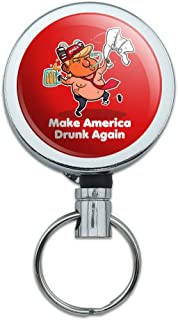 Trump Make America Drunk Again with Beer Heavy Duty Metal Retractable Reel ID Badge Key Card Tag Holder with Belt Clip
