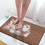 Bligli Loofah Shower mat, Non Slip Bath,Tub Mat for Textured Bathtub or Floor,PVC Quick Drying Cushioned Bathroom Mats for Wet Areas 16x32inches Brown