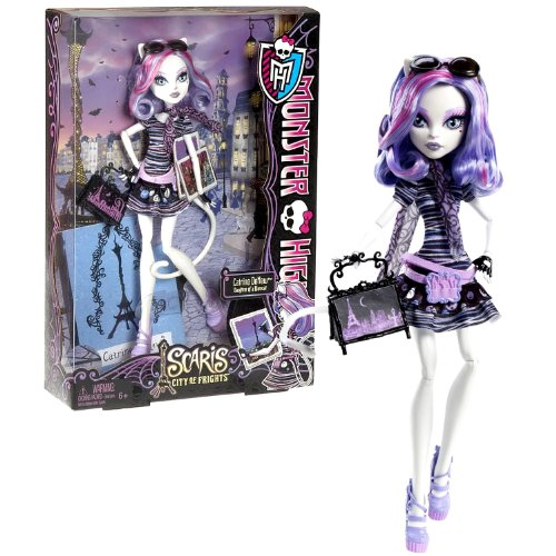 "Mattel Year 2012 Monster High Scaris City of Frights Series 11 Inch Doll - Catrine DeMew ""Daughter of Werecat"" with Purse and Doll Stand"