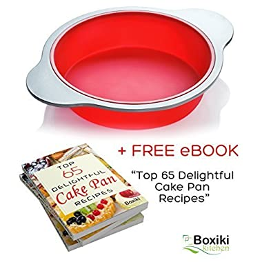 Silicone Round Cake Pan. Large 9-inch Baking Cake Mold by Boxiki Kitchen | Best Non-Stick Bakeware | FDA-Approved Silicone w/Heavy Grade Steel Frame and Handles