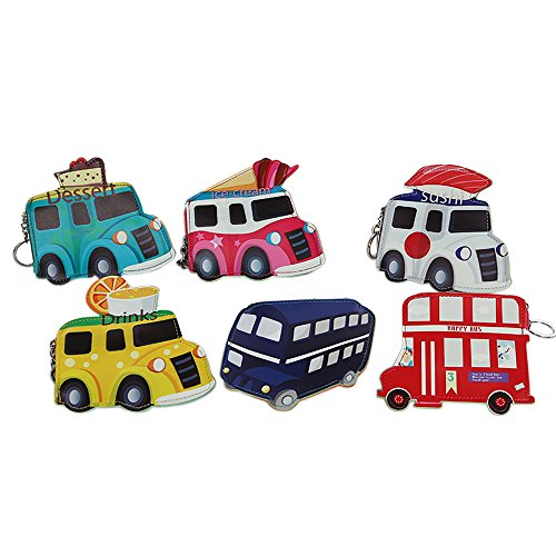"""Price is for 5pcs. Color: Assorted Made of high-quality PU, durable and reliable. Used as keychains and coin purses. Meaningful gift for your family, lover and friends. Size: Ice cream theme: Aprox 6.7"""" L x 3.15"""" W, Car theme: Aprox 4.7"""" L x 6.3"""" W, ..."""