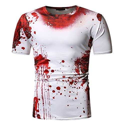 AmyGline Herren T Shirt Top Neu-Männer Rundhals Blutfleck 3D Druck Kurzarm T-Shirt Bluse Kurzarmshirt Sweatshirt Pullover Poloshirt Hemd