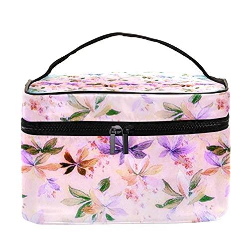 Grande trousse à maquillage de voyage avec fermeture éclair et motif papillons violets