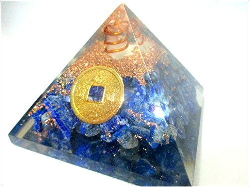 Jet Lapis Lazuli Feng Shui Coin Orgone Pyramid Lucky Ions Generator 2.5 inch Natural Charged EMF Harmonizer Energy Chakra Blancing Meditation Healing Gemstone Jet Crystal Image is JUST A Reference