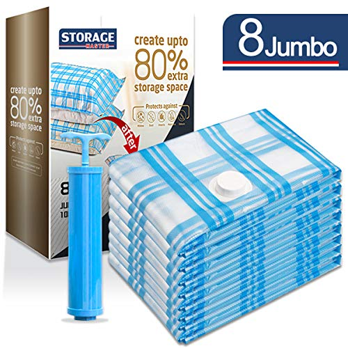 Storage Master Space Saver Bags, Vacuum Storage Bags for Travel & Home (8 Jumbo)