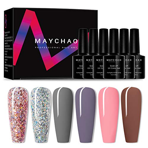 MAYCHAO Gel Nail Polish Set, Glitter Purple White Gray Pink Brown Gel...