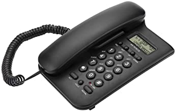 $22 » Corded Telephone, FSK/DTMF Dual System Desktop Lindline Corded Telephone with Caller ID Display for Home Office Easy to In...