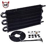 EVIL ENERGY 6 Pass Tube and Fin Transmission Cooler Universal 5/16' Oil Cooler Kit Aluminium Black