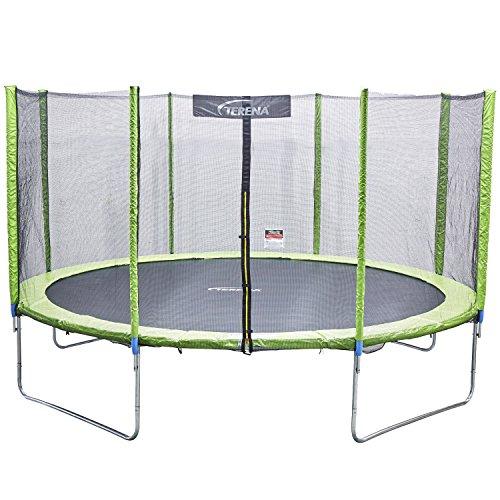 terena Premium Trampolin neongrün 183 244 305 366 427cm mit Netz Sicherheitsnetz Gartentrampolin für Kinder (305)