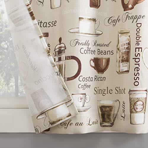 No. 918 Bristol Coffee Shop Semi-Sheer Rod Pocket Kitchen Curtain Valance, 54