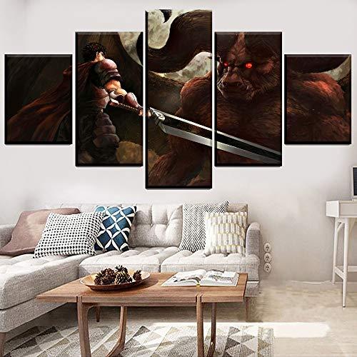 Impreso en lienzo 5 piezas Tripas Nosferatu Zodd Pintura Decoración para el hogar Sala de estar Arte de pared moderno Anime Berserk Poster Obra Cuadros(NO Frame size 3)