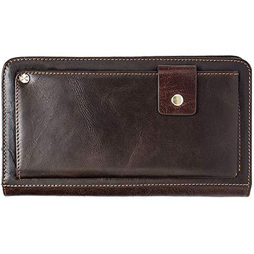 Echt lederen koppelingstassen voor mannen grote rits rond lederen portemonnee vintage retro checkbook handtas koffie
