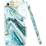 JIAXIUFEN Gold Sparkle Glitter Blue Marble Desgin Slim Shockproof Flexible Bumper TPU Soft Case Rubber Silicone Cover Phone Case for iPhone 7 iPhone 8 iPhone 6 6S