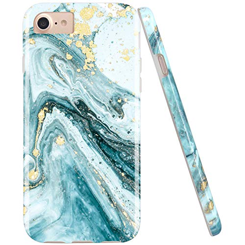 JIAXIUFEN Gold Sparkle Glitter Blue Marble Desgin Slim Shockproof Flexible Bumper TPU Soft Case Rubber Silicone Cover Phone Case for iPhone 7 iPhone 8 iPhone 6 6S
