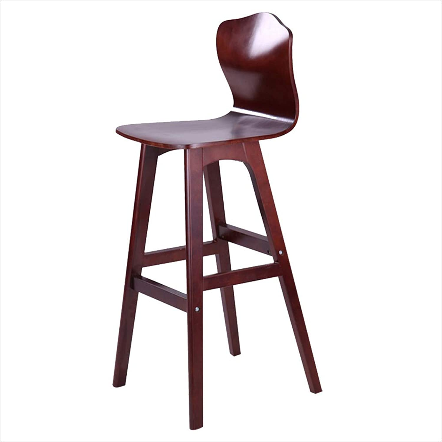 QING MEI Bar Stool High Chair Nordic Creative High Back Stool Dining Chair Solid Wood Stool Modern Minimalist Front Desk Chair Brown Wood color Optional A++ (color   Brown, Size   2-74cm)