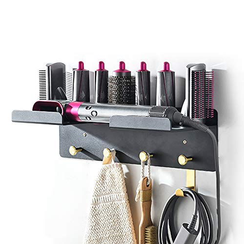 Iamagie Wall Mount Holder Adhesive for Dyson Airwrap Styler Supersonic Hair Dryer, Nail-Free or Perforat to Install, Organizer Storage Rack with Hooks for Curling Barrels Brushes Bedroom Bathroom