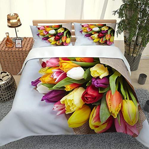 ZTMLJT Funda de Edredón para Cama 135/150 cm Estampado de Flores de Colores Juego de Funda de Edredón 240x220 cm Microfibra Tamaño Individual Doble King con 2 Fundas de Almohada