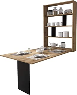 Selsey Espigo - Table Extensible - 130x80 cm, Chêne wotan, 6 étagères - Style Moderne